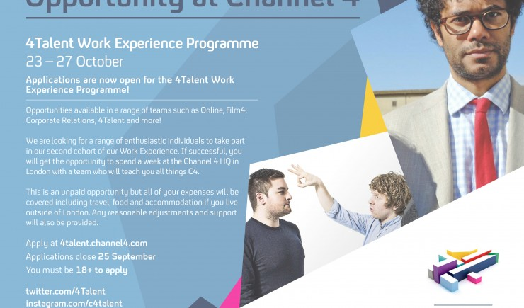 Channel 4 Work Experience - Applications now open!